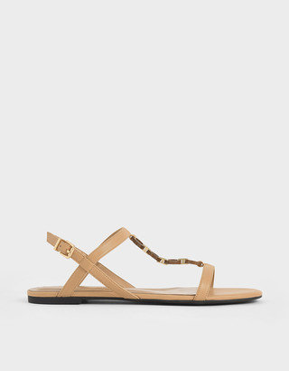 Charles & Keith Wood-Effect Chain Link Sandals