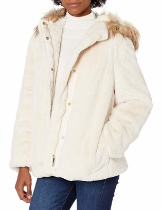 Calvin Klein Womens Faux Fur Hooded Coat