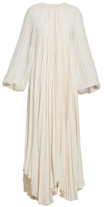 The Row Martina Beaded Neck Pleated Crepe Gown - Womens - Ivory