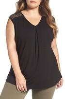 Daniel Rainn Plus Size Women's Lace Trim V-Neck Top