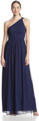 Donna Morgan Women's Rachel Long One-Shoulder Chiffon Dress