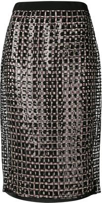 Marco De Vincenzo Sequin Pencil Skirt