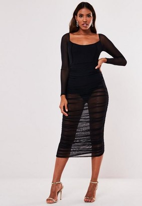 Missguided Black Mesh Ruched Long Sleeve Midi Dress