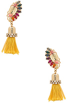 Anton Heunis Crystal Cluster Drop Tassel Earring in Metallic Gold.