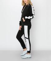 Kimberly C Women's Casual Pants Black - Black & White Fleece Zip-Up Hoodie & Joggers - Women