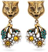 Gucci Feline and daisy earrings