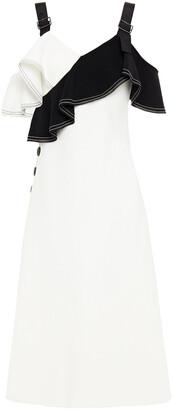 Self-Portrait Cold-shoulder Ruffled Two-tone Crepe Midi Dress