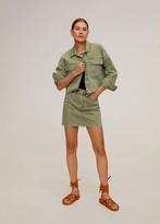 MANGO Colour denim mini skirt khaki - XS - Women
