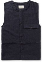 The Lost Explorer - Traveler Boiled Wool And Cotton-blend Sweater Vest - Midnight blue