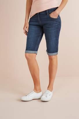 Next Womens Dark Blue Knee Shorts - Blue