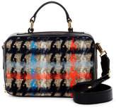 Milly Pied De Poule Tweed Leather Satchel Bag
