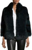 Diane von Furstenberg Ombre Fur Swing Jacket, Forest Ombre
