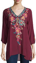 Johnny Was Roma V-Neck Embroidered Long Tunic