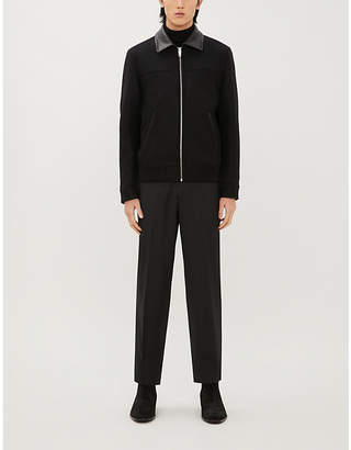 The Kooples Leather-collar wool-blend jacket