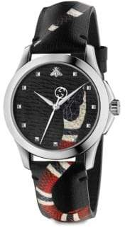 Gucci Le Marche Des Merveilles Stainless Steel and Snake-Print Leather Strap