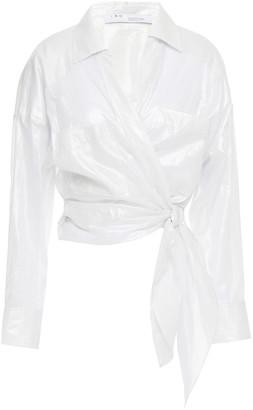 IRO Metallic Coated-cotton Wrap Blouse