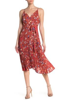 Kenedik Floral Pleated Waist Tie Midi Dress
