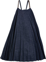Brunello Cucinelli Girl's Denim Plisse Dress with Monili Straps, Size 8-10