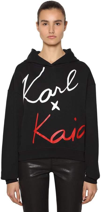 Karl Lagerfeld Paris X Kaia Cropped Sweatshirt Hoodie