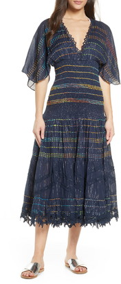 HEMANT AND NANDITA Smocked Stripe Cover-Up Dress