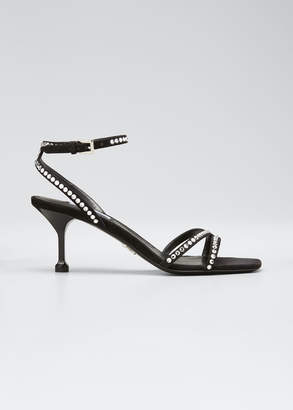 Prada Shimmery Studded Leather Ankle-Strap Sandals