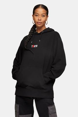 Topman Womens Tokyo Hoodie In Black - Black