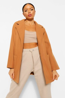 boohoo Petite Belted Wool Look Coat