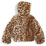 Splendid Girl's Leopard Print Faux Fur Hooded Jacket