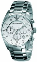 Emporio Armani Men's Fashion AR5869 Stainless-Steel Analog Quartz Watch with White Dial