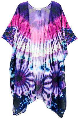 JC Sunny Women's Kimono Cardigans PURPLE - Purple Tie-Dye Kimono - Women