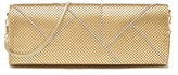 Whiting & Davis Matte Gold Crystal Segment Mesh Clutch