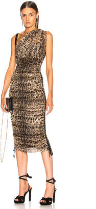 Dolce & Gabbana Leopard One Shoulder Dress in Leopard | FWRD