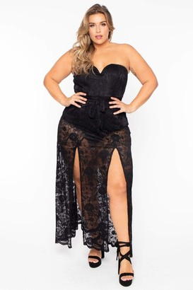 Curvy Sense Cassandra Strapless Lace Dress in Black Size 1X