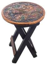 Wood and Leather Round Folding Stool Bird Motif from Peru, 'Paradise Bird in Beige'