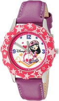 Disney Kids' W000434 Tween Isabella Stainless Steel Pink Bezel Purple Leather Strap Watch