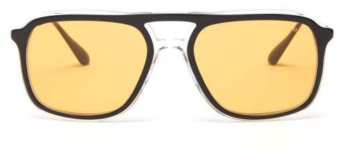 Prada Logo Engraved Navigator Acetate Sunglasses - Mens - Gold