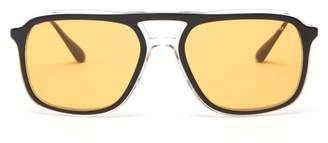 Prada Logo-engraved Navigator Acetate Sunglasses - Mens - Gold