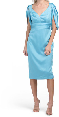 Satin Fitted Cocktail Split Sleeve Dress