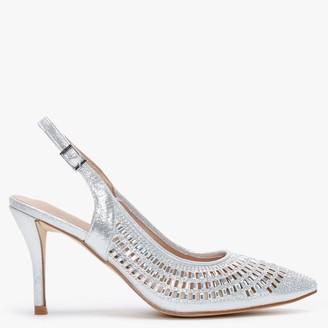 Menbur Anzu Sliver Metallic Embellished Sling Back Court Shoes