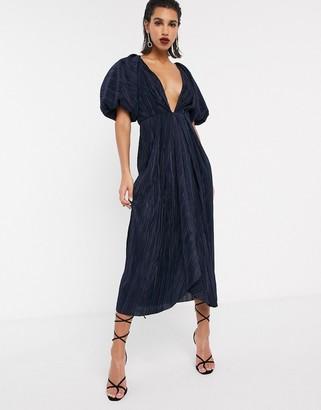 ASOS EDITION plunge puff sleeve midi dress in micro pleat