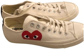 Comme des Garcons Converse X Play White Cloth Trainers
