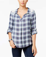 Style&Co. Style & Co Crochet-Trim Plaid Shirt, Created for Macy's