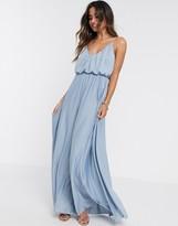 Asos Design DESIGN cami plunge maxi dress with blouson top in dusky blue