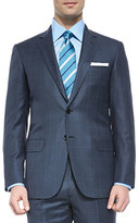 Brioni Super 150s Wool Windowpane Suit, Blue