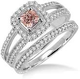 JeenJewels 2 Carat Morganite & Diamond Antique Bridal set Halo Ring on 10k White Gold