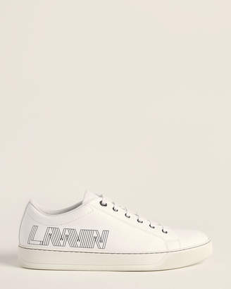 Lanvin Logo Leather Low-Top Sneakers