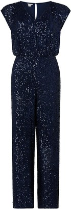 Monsoon Leila Sequin V Neck Jumpsuit - Navy