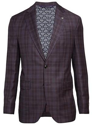 Ted Baker Konan Modern-Fit Wool Plaid Jacket