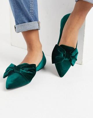 ASOS DESIGN Lake bow pointed ballet flats in green velvet
