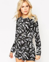 Glamorous Romper With Tie Waist In Abstract Print